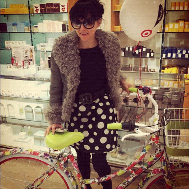Alice + Olivia By Stacey Bendets with Her Bike at NM Short Hillls