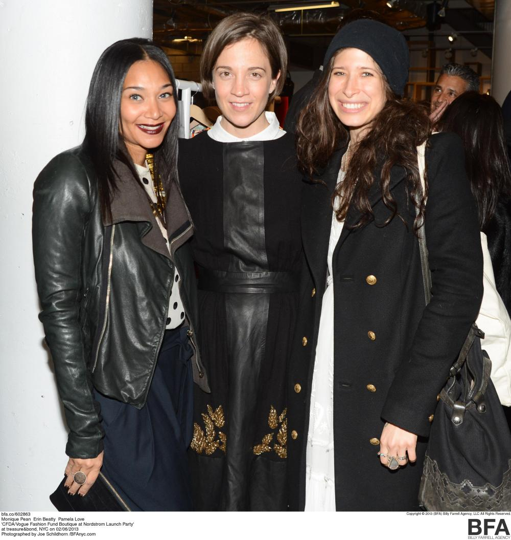 Guests at the CFDA Vogue Fashion Fund Party in NYC Monique Pean, Erin Beatty, and Pamela Love Photo Credit Nordstrom