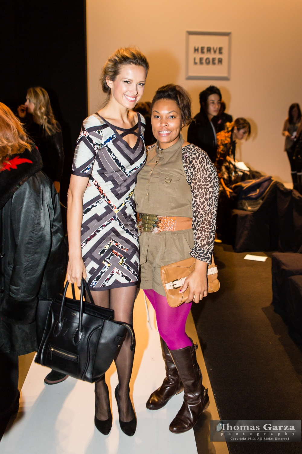 Model Petra and me on the catwalk at the Herve Leger Fashion Show for NYFW