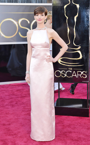 Ann Hathaway wearing Prada at the Oscars 2013 Photo Credit Getty Images
