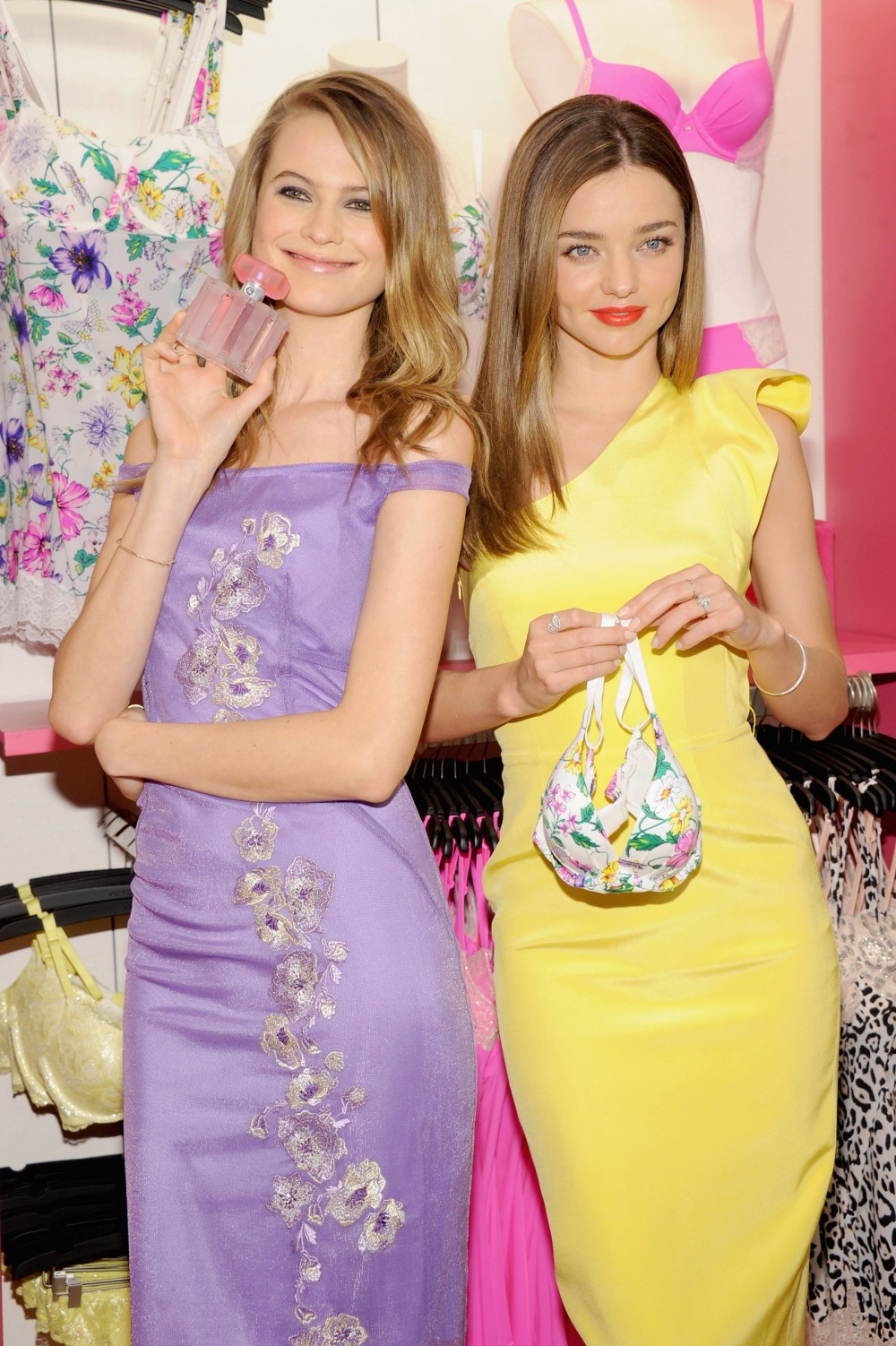 Models Miranda Kerr and Behati Prinsloo attend Victoria's Secret Angels Launch Fabulous Collection at Victoria's Secret Herald Square on February 26, 2013 in New York City.  (Photo by Jamie McCarthy/Getty Images for Victoria's Secret)