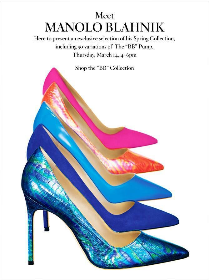 Manolo Blahnik Invite To BG Shoe Event in NYC