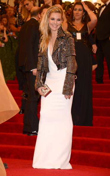 "Sienna Miller attends the Costume Institute Gala for the ""PUNK: Chaos to Couture"" exhibition at the Metropolitan Museum of Art on May 6, 2013 in New York City.  (Photo by Kevin Mazur/WireImage)"