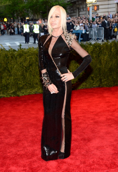 "Donatella Versace attends the Costume Institute Gala for the ""PUNK: Chaos to Couture"" exhibition at the Metropolitan Museum of Art on May 6, 2013 in New York City.  (Photo by Kevin Mazur/WireImage)"