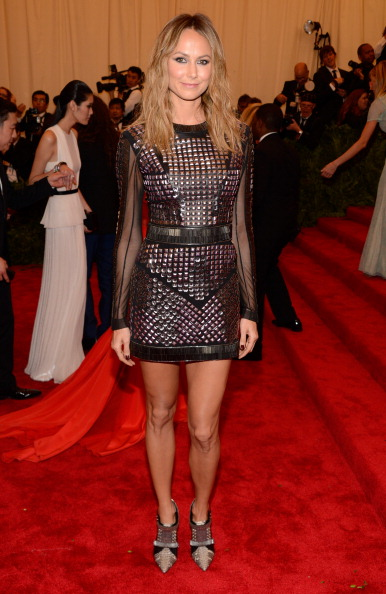 "Stacy Keibler attends the Costume Institute Gala for the ""PUNK: Chaos to Couture"" exhibition at the Metropolitan Museum of Art on May 6, 2013 in New York City.  (Photo by Kevin Mazur/WireImage)"