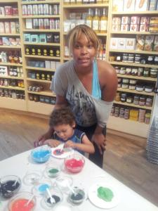 Brandy Sebastian and Her Son Painting at Pottery Barn