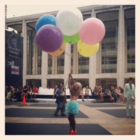 Ballons are the perfect accessory at MBFW Photo: MBFW Sept 2012