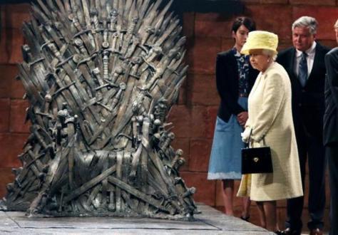 Queen  Elizabeth visting the Game of Thrones Exhibit . Photo via Elle France